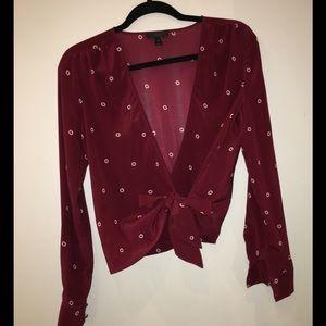 J Crew silk wrap polka dot blouse size xs